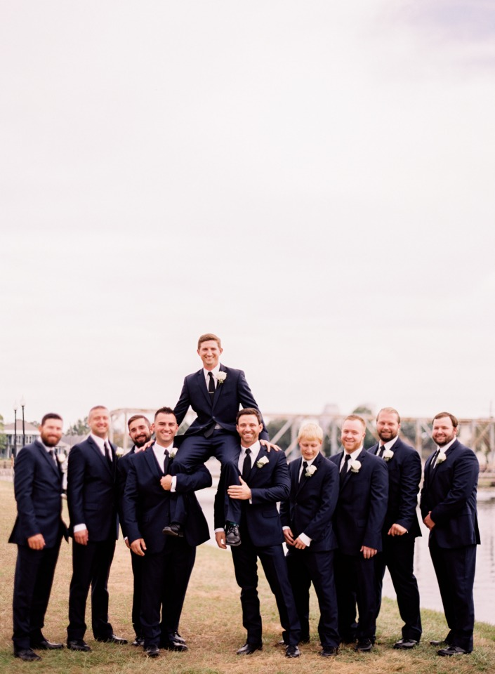 Grooms and his men in Navy suits