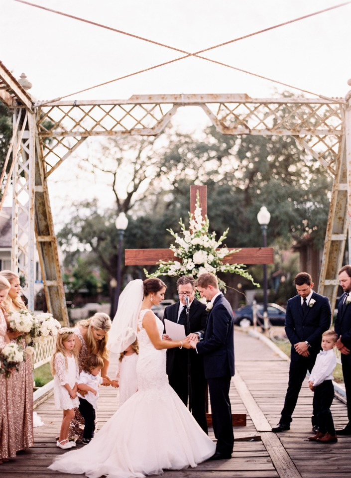 Outdoor ceremony on a bridge in New Orleans