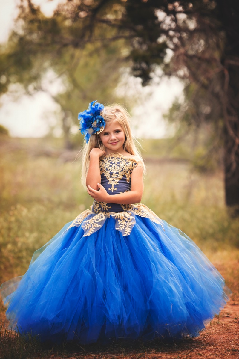 Gorgeous in royal and gold your flower girl will be stunning in this dress!