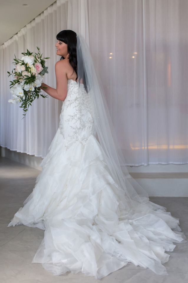 wedding dress with fish tail train