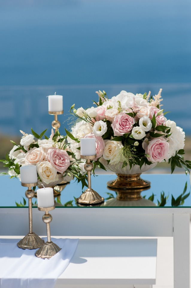 summer time wedding ceremony flowers
