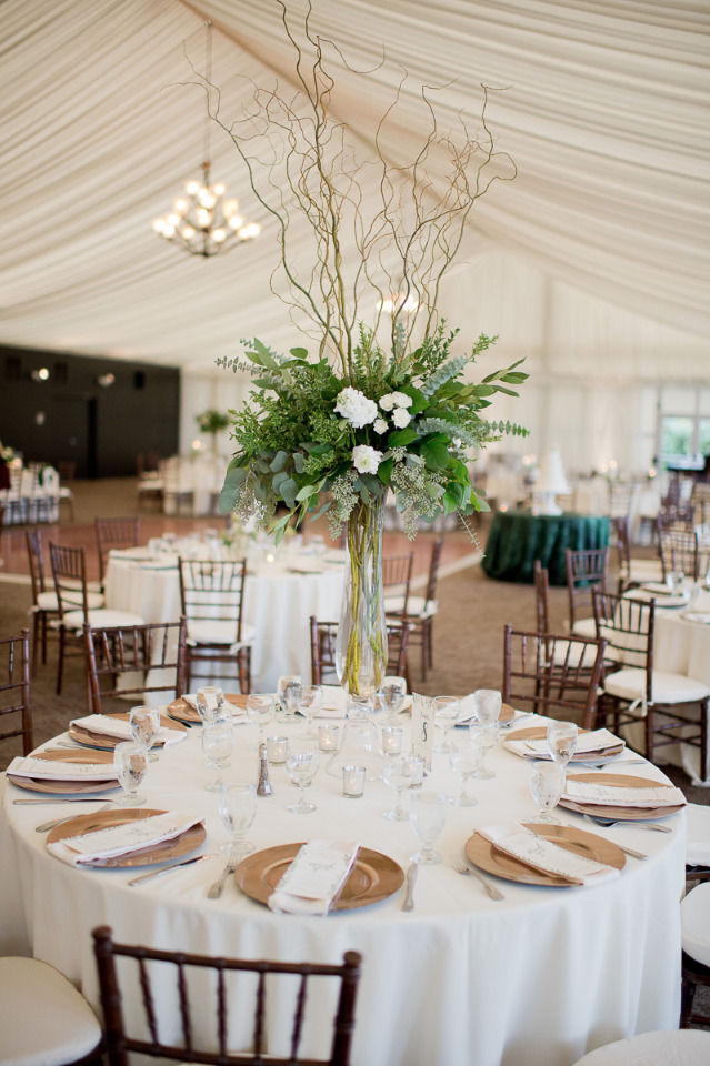 tall wedding centerpiece with curly branches