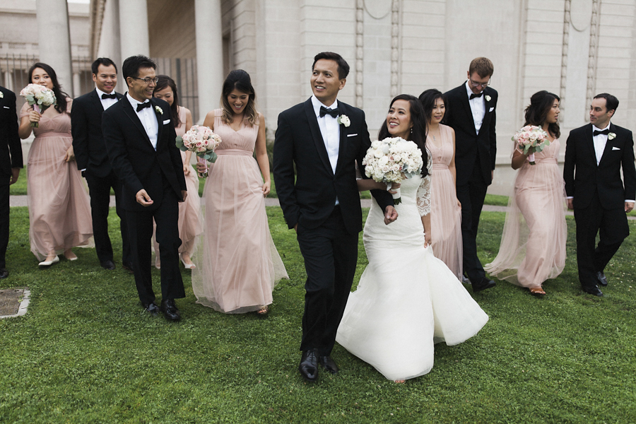 black white and blush wedding party style