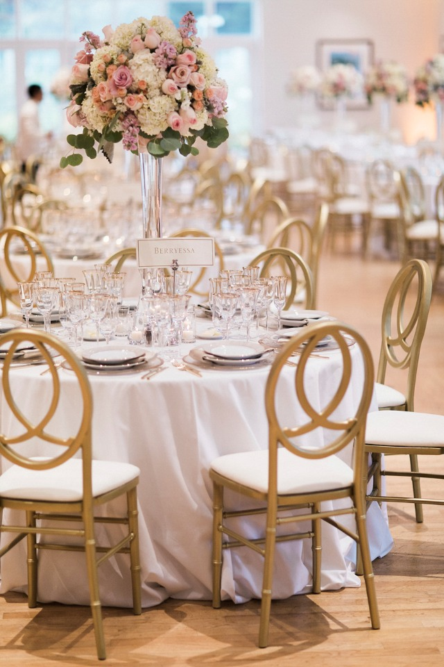 white and gold formal wedding reception