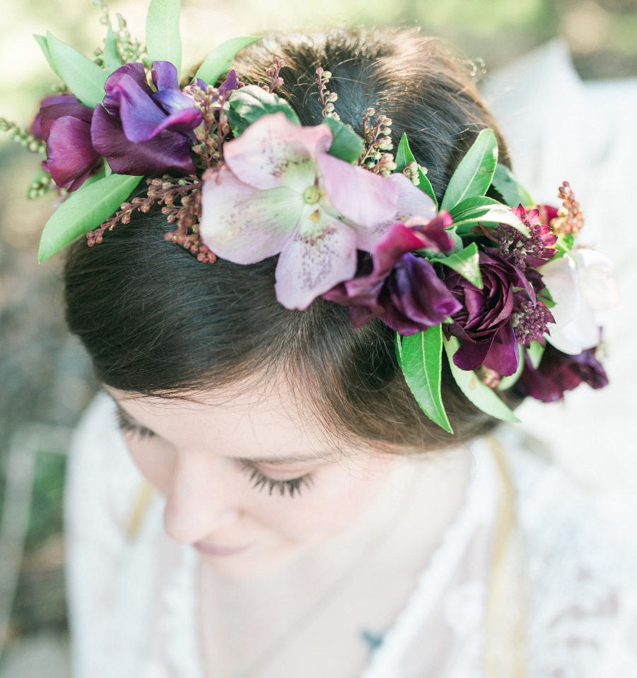 Purple and green flower crown