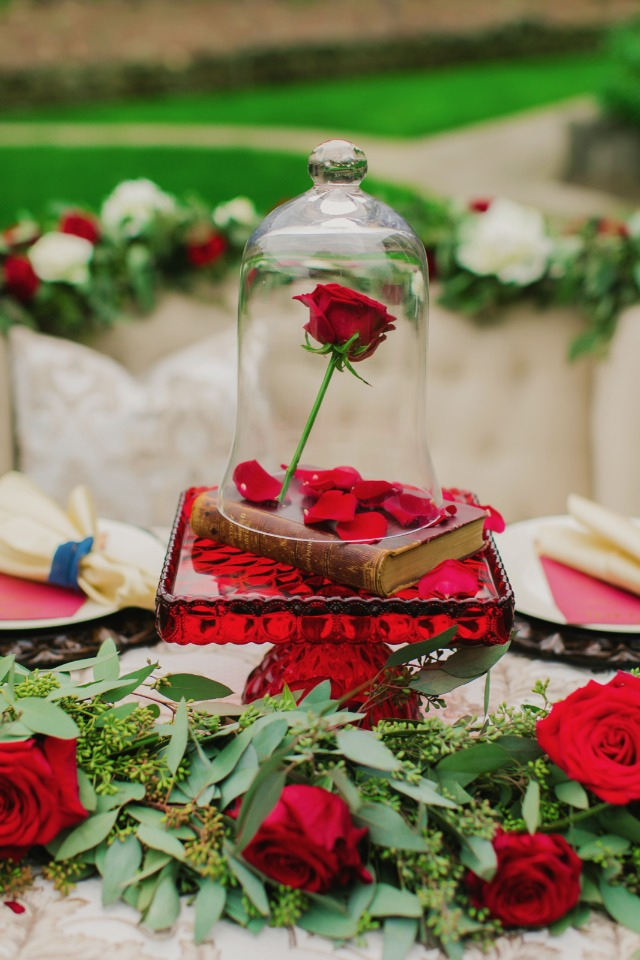 Floating rose centerpiece inspired by Beauty and the Beast