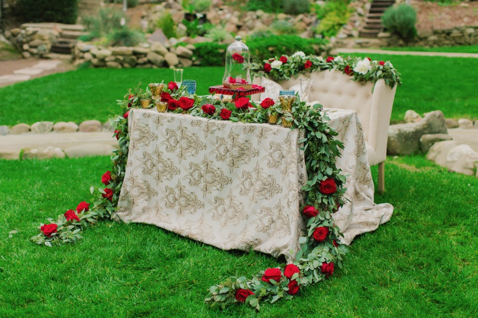 Dreamy sweetheart table inspired by Beauty and the Beast