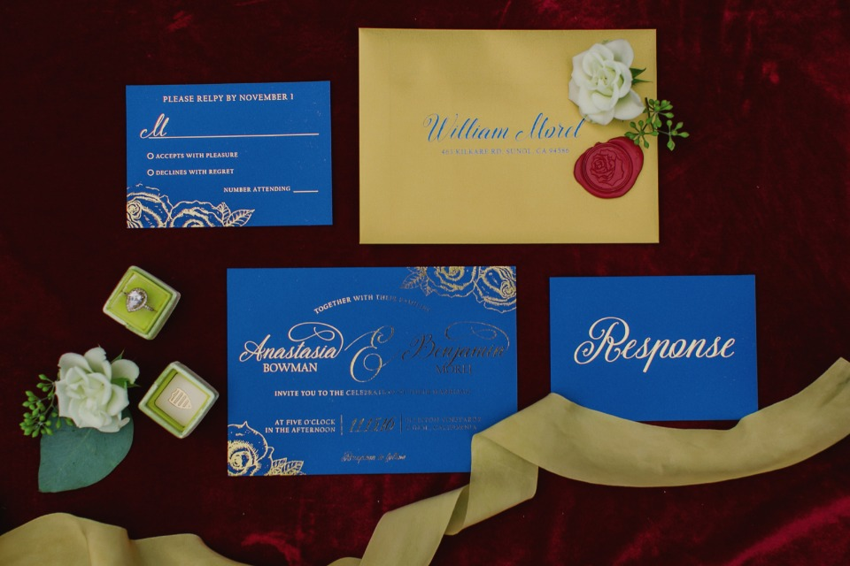Navy and gold invitation suite inspired by Beauty and the Beast