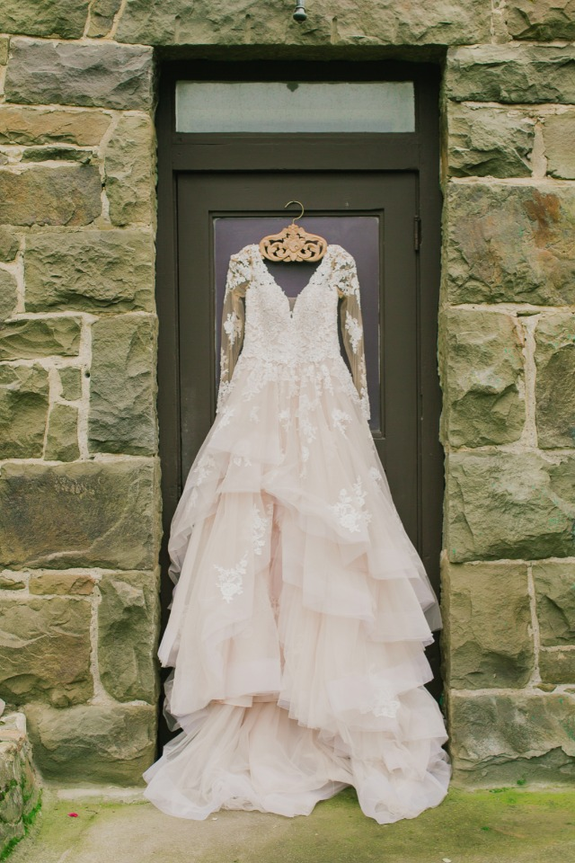 Blush tulle lace gown