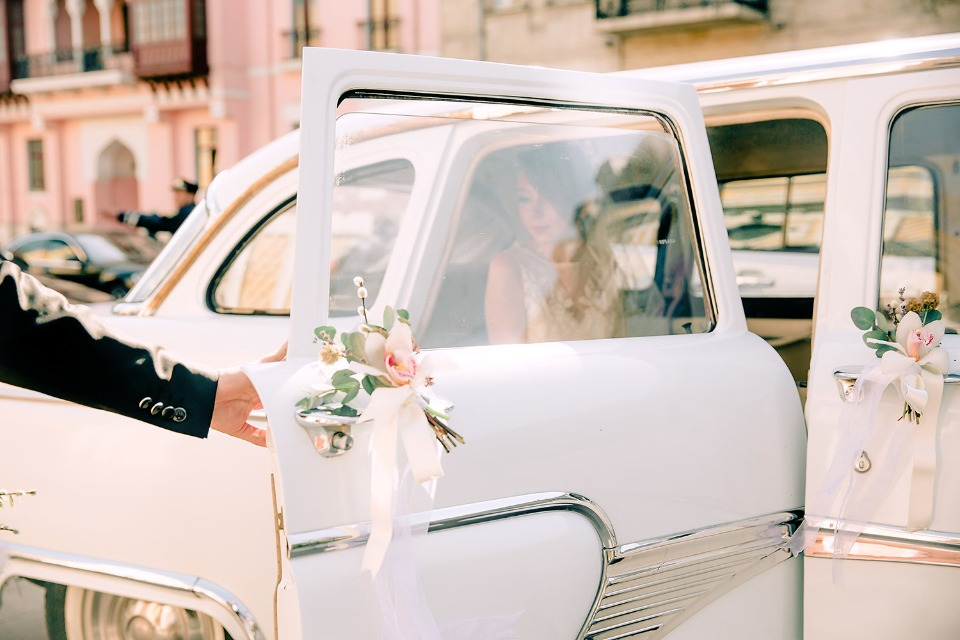 Cool vintage car for the bride and groom