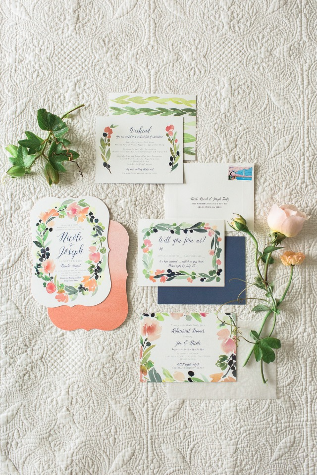 blue and peach floral wedding stationery