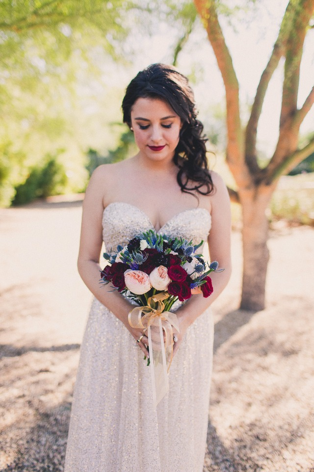 Blush, red and lavender bouquet