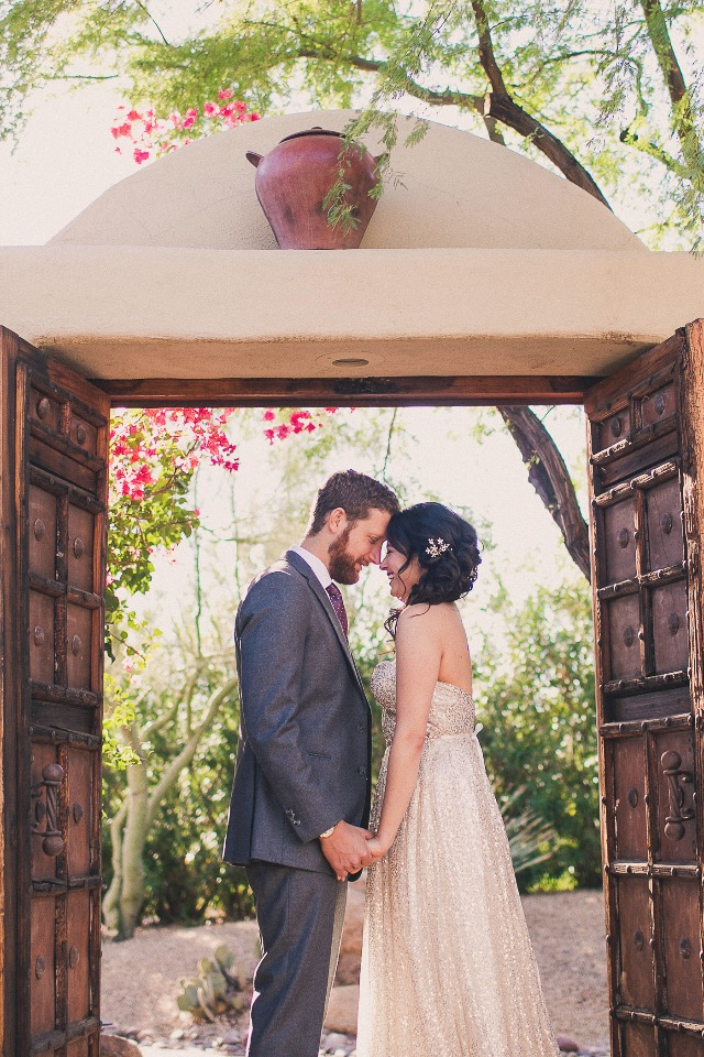 Cute bride and groom portrait