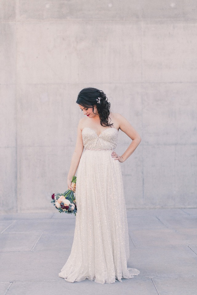 Gold sparkle wedding dress from Sarah Seven