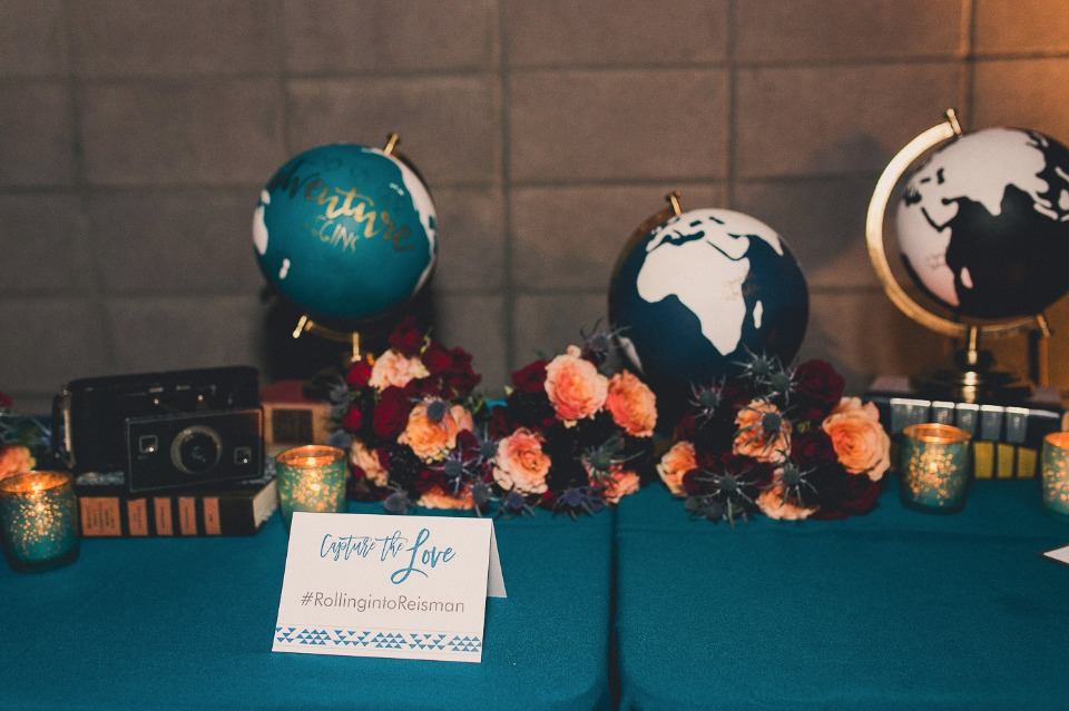 Painted globe guestbook table