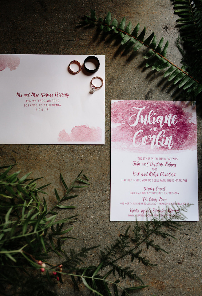 deep red watercolor wedding invites