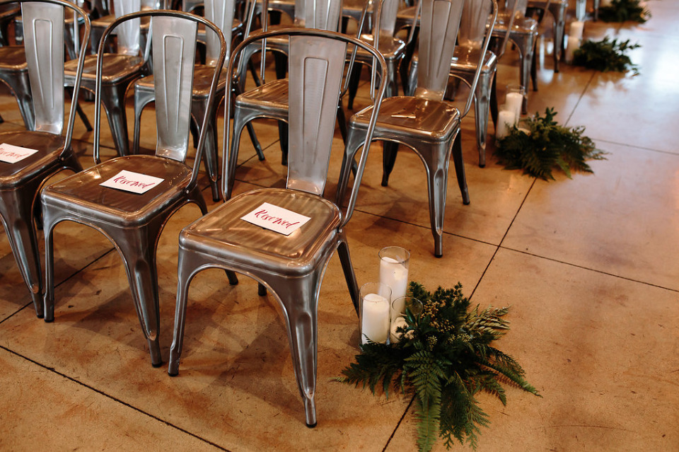 metal chairs for a boho wedding ceremony