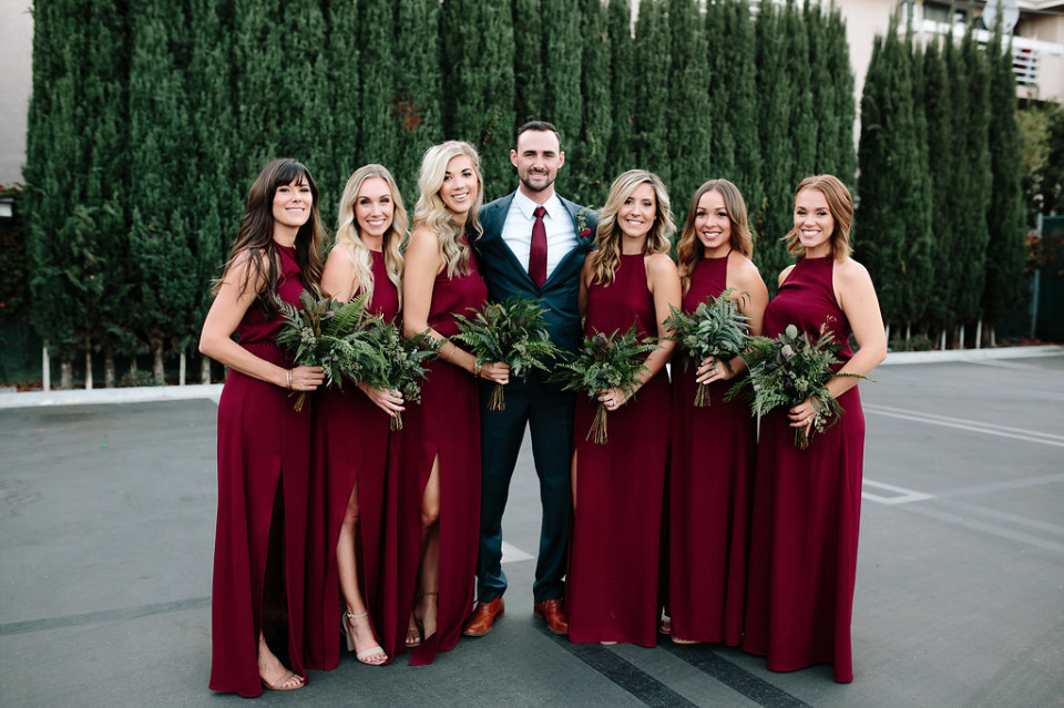 floor length red wedding bridesmaid dresses