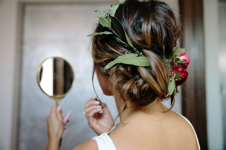 greenery floral crown with ranunculus