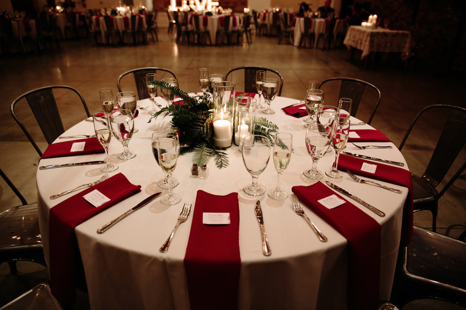 red and green wedding reception
