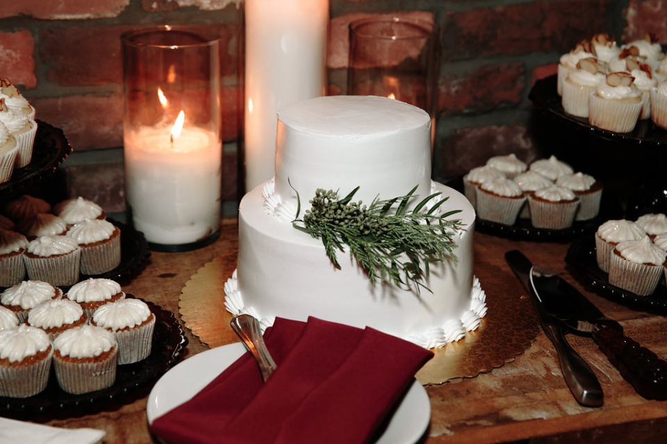 white wedding cake for bride and groom