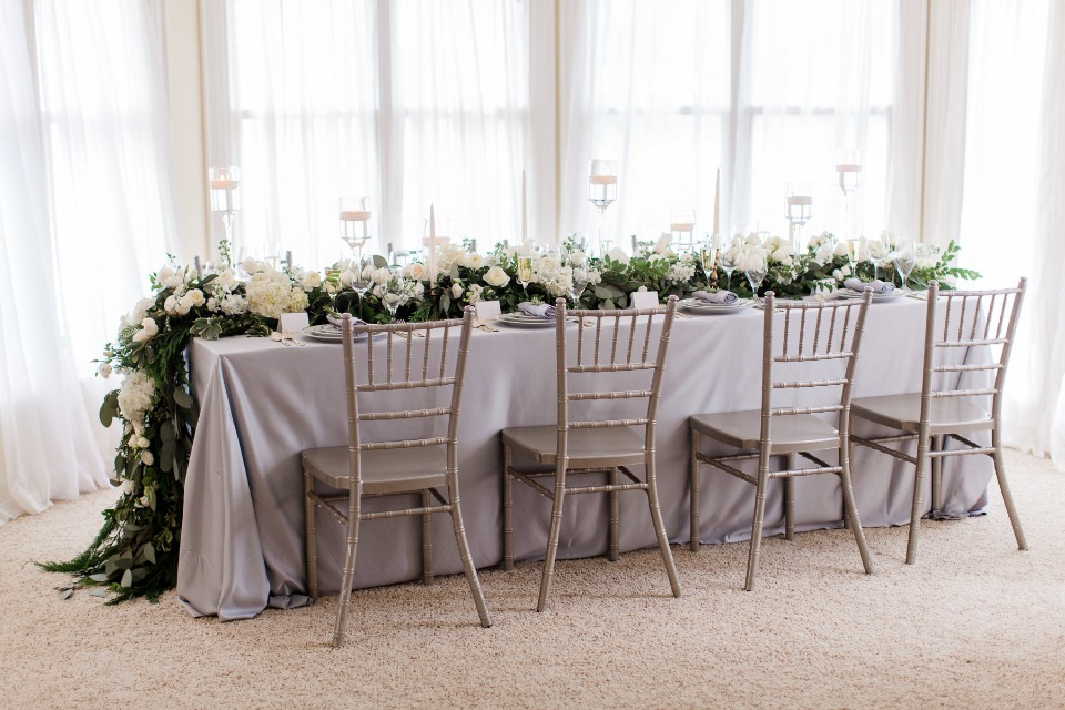 Natural grey and white winter tablescape