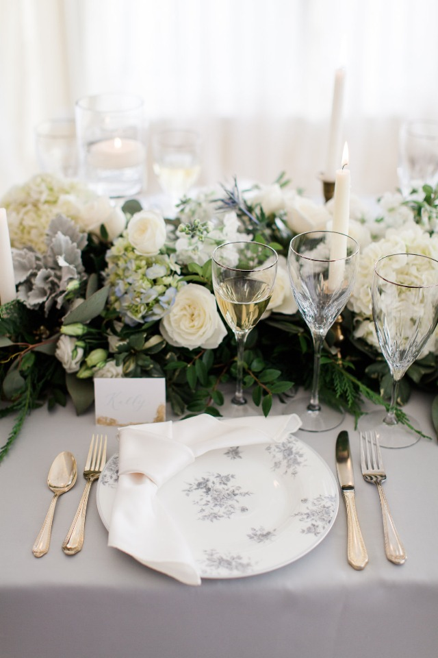 Gray and white tablescape