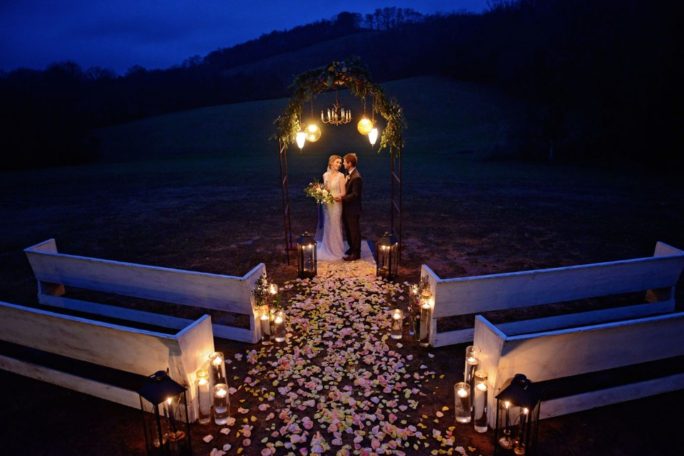 outdoor night time wedding ceremony