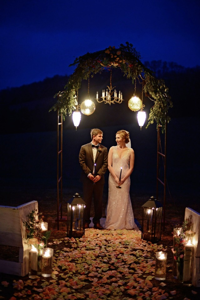 romantic night time wedding ceremony