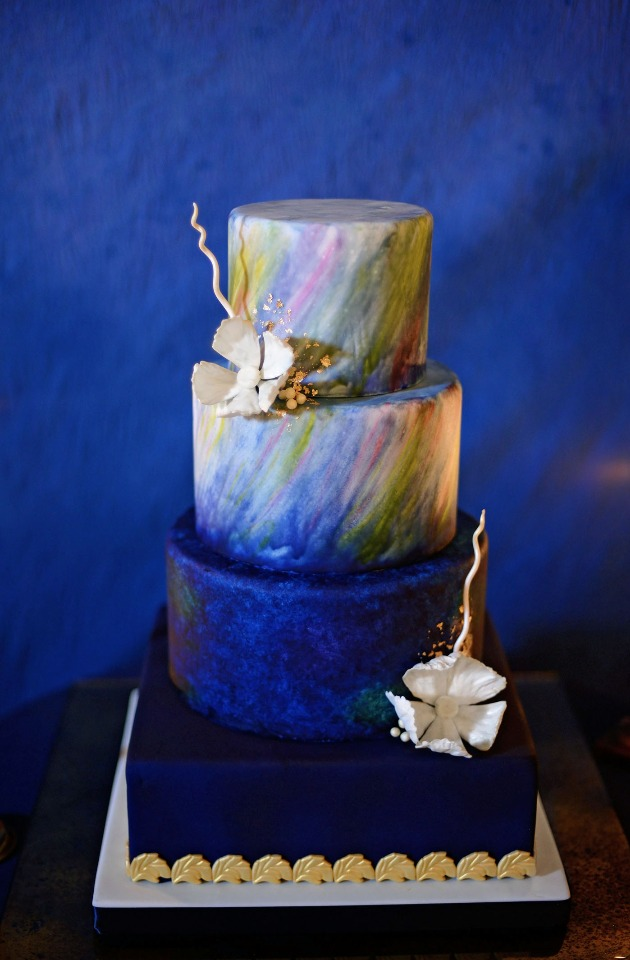 Aurora Borealis inspired wedding cake