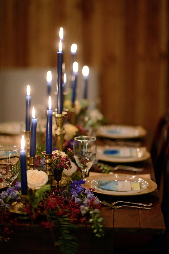 candle lit table centerpiece