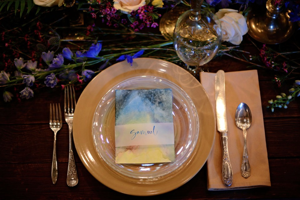 gold and opal wedding place setting