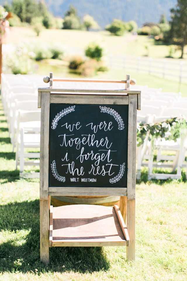 Ceremony chalkboard sign idea