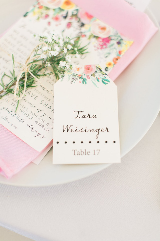 cute floral escort tag