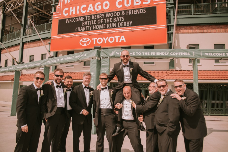 Groomsmen at Wrigley field
