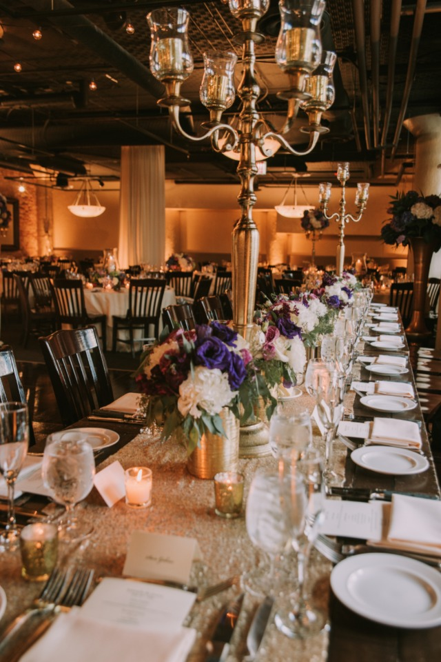 Head table with bouquets in the center