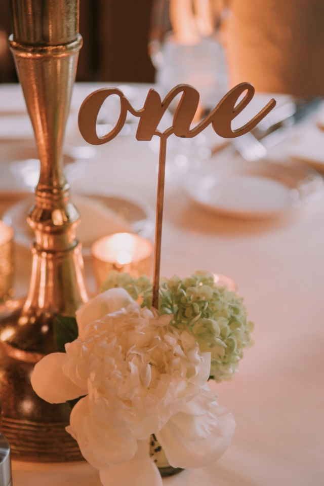 Gold table number idea
