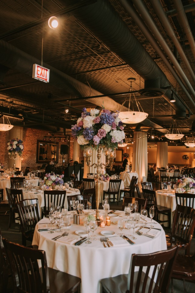 Romantic indoor reception at River Roast