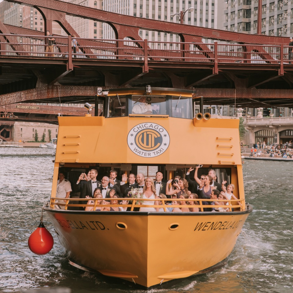 Chicago water taxi ride to the reception