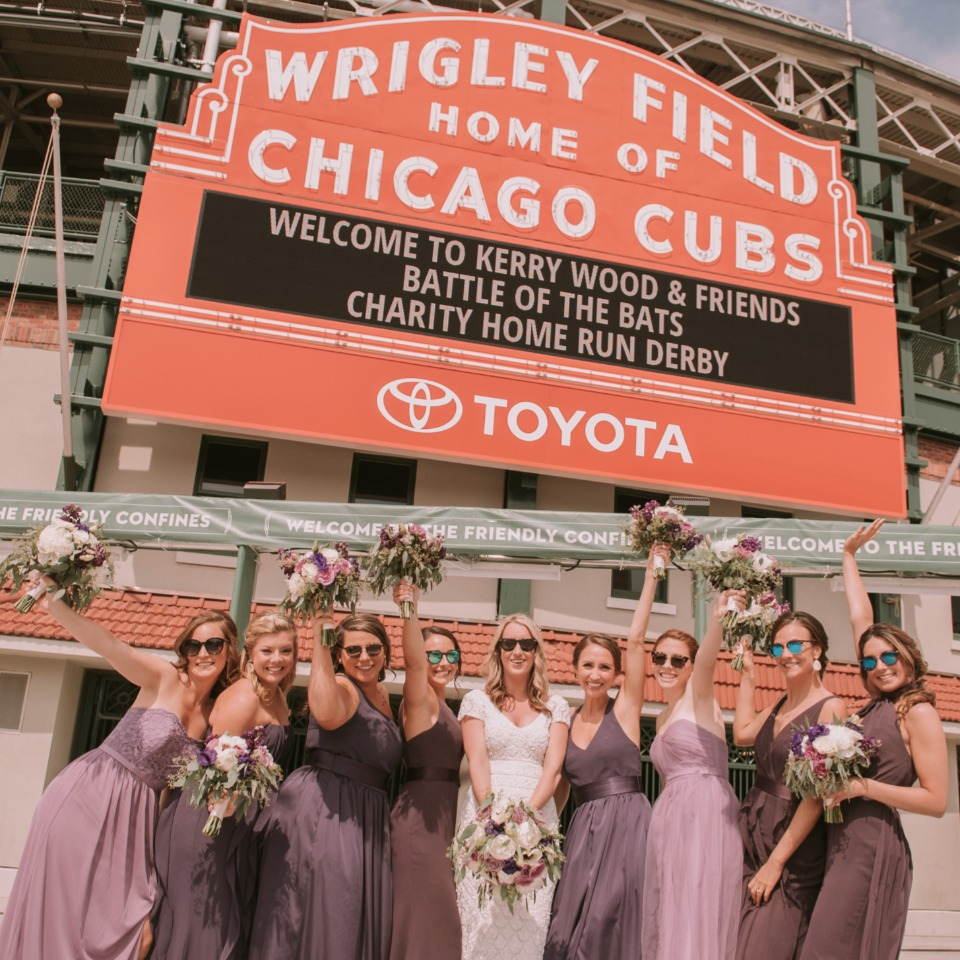 fun Wrigley Field bridesmaid shot