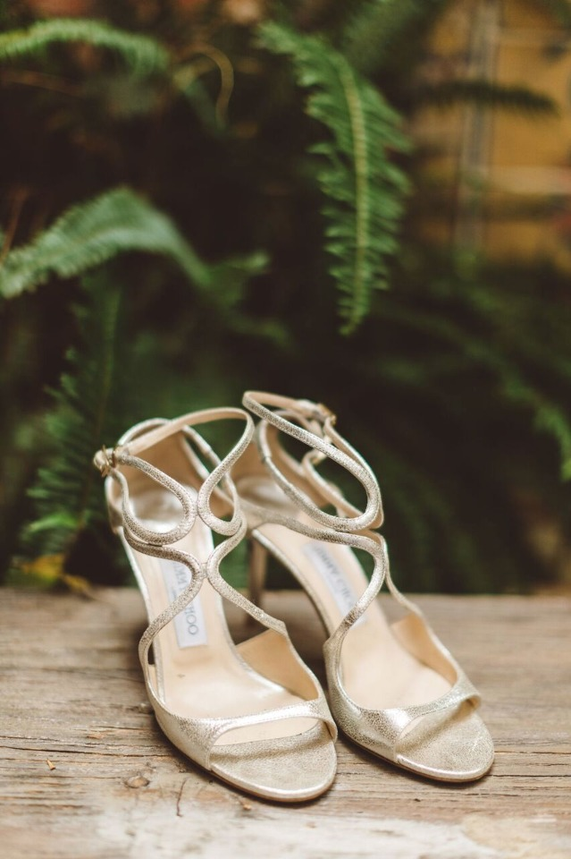 strappy gold Jimmy Choo shoes