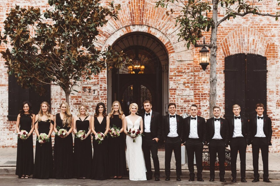 formal black and white wedding party style