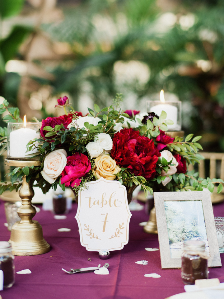 purple red and yellow wedding reception