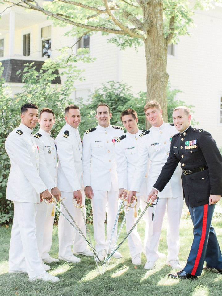 Navy groom and his men