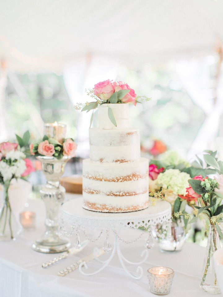 Simple and sweet naked wedding cake