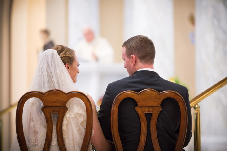 sweet bride and groom candid