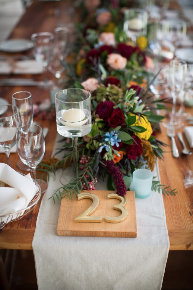 modern wood and gold table numbers