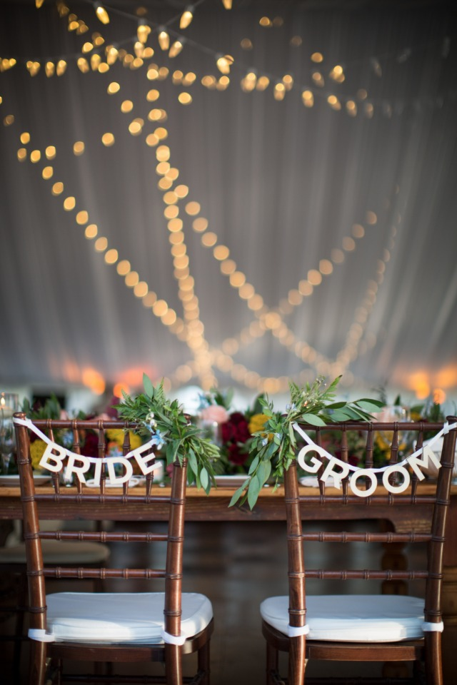bride and groom reception seat signs