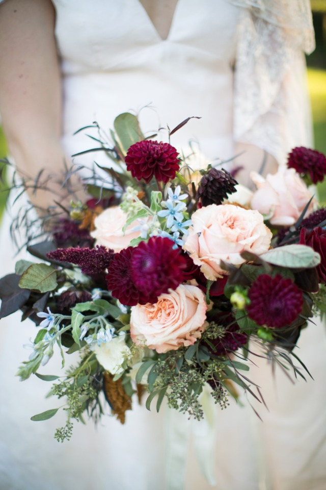 fall wedding bouquet in soft peach and burgundy