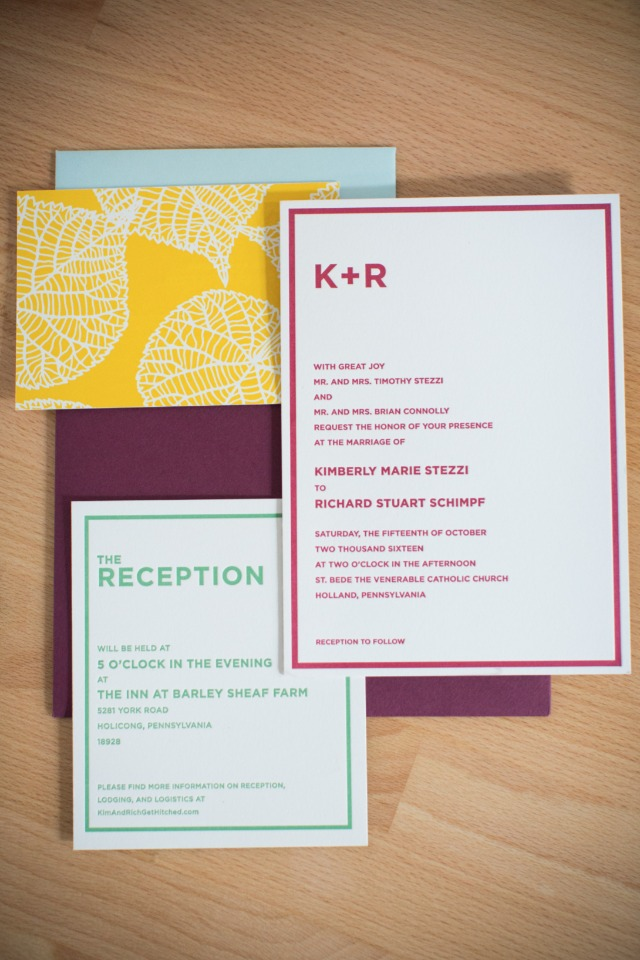 bright and cheery fall wedding invitation suite